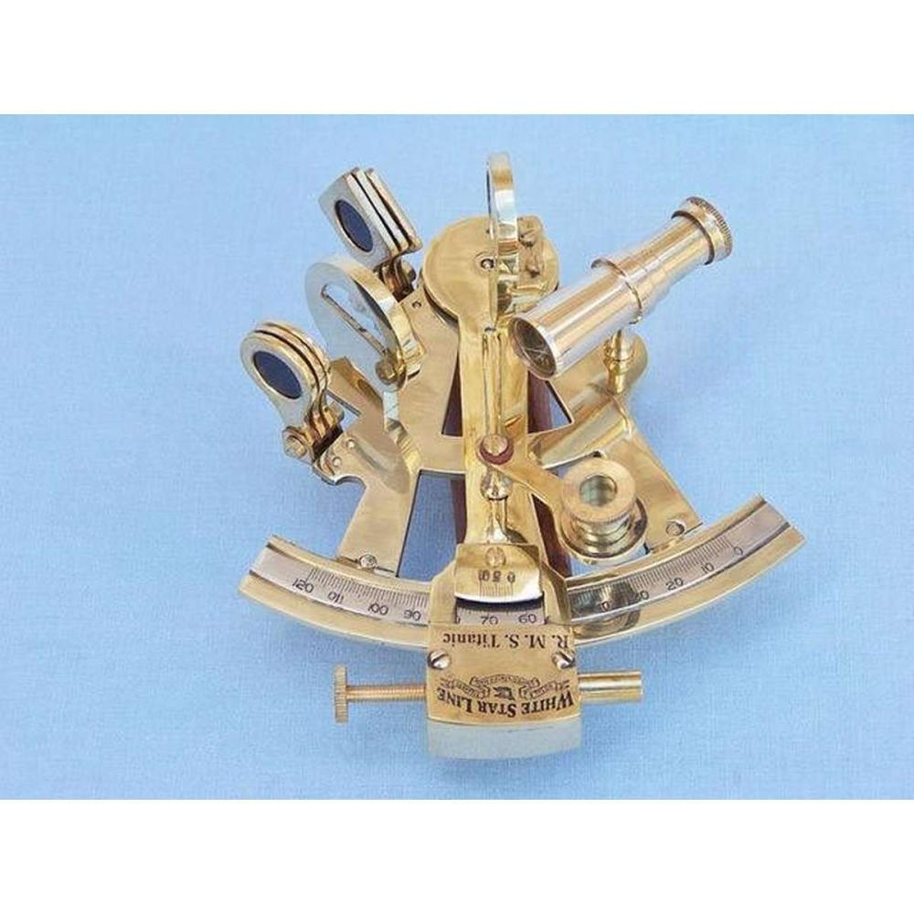 Titanic White Star Lines Sextant with Rosewood Box 5in.