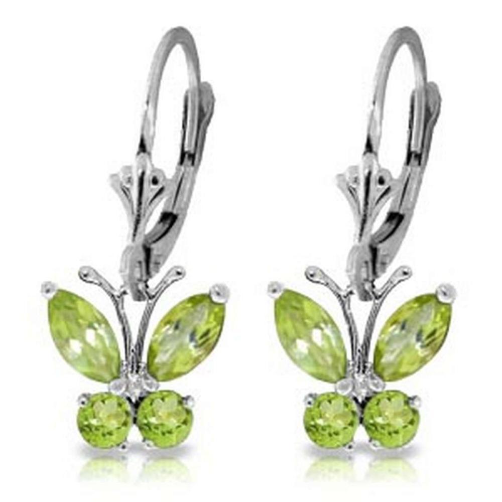 1.24 Carat 14K Solid White Gold Butterfly Earrings Peridot