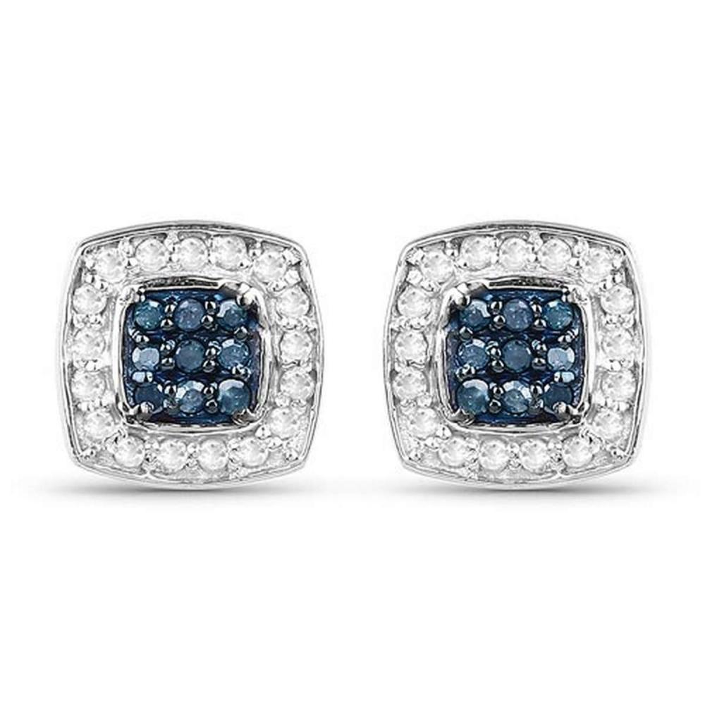 0.27 CTW Genuine Blue Diamond & White Diamond .925 Sterling Silver Earrings