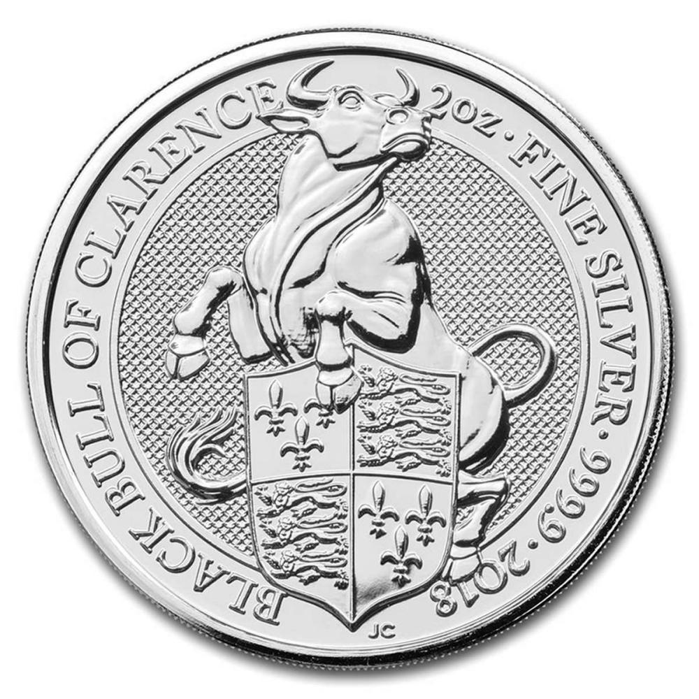 2018 2 oz British Silver Queen?s Beast Black Bull Coin (BU)
