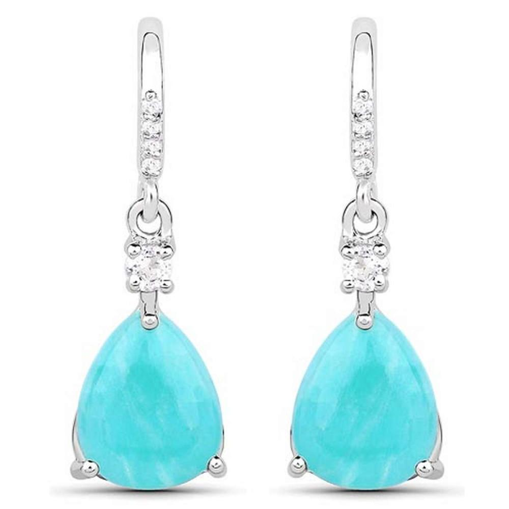 3.78 CTW Genuine Amazonite and White Topaz .925 Sterling Silver Earrings