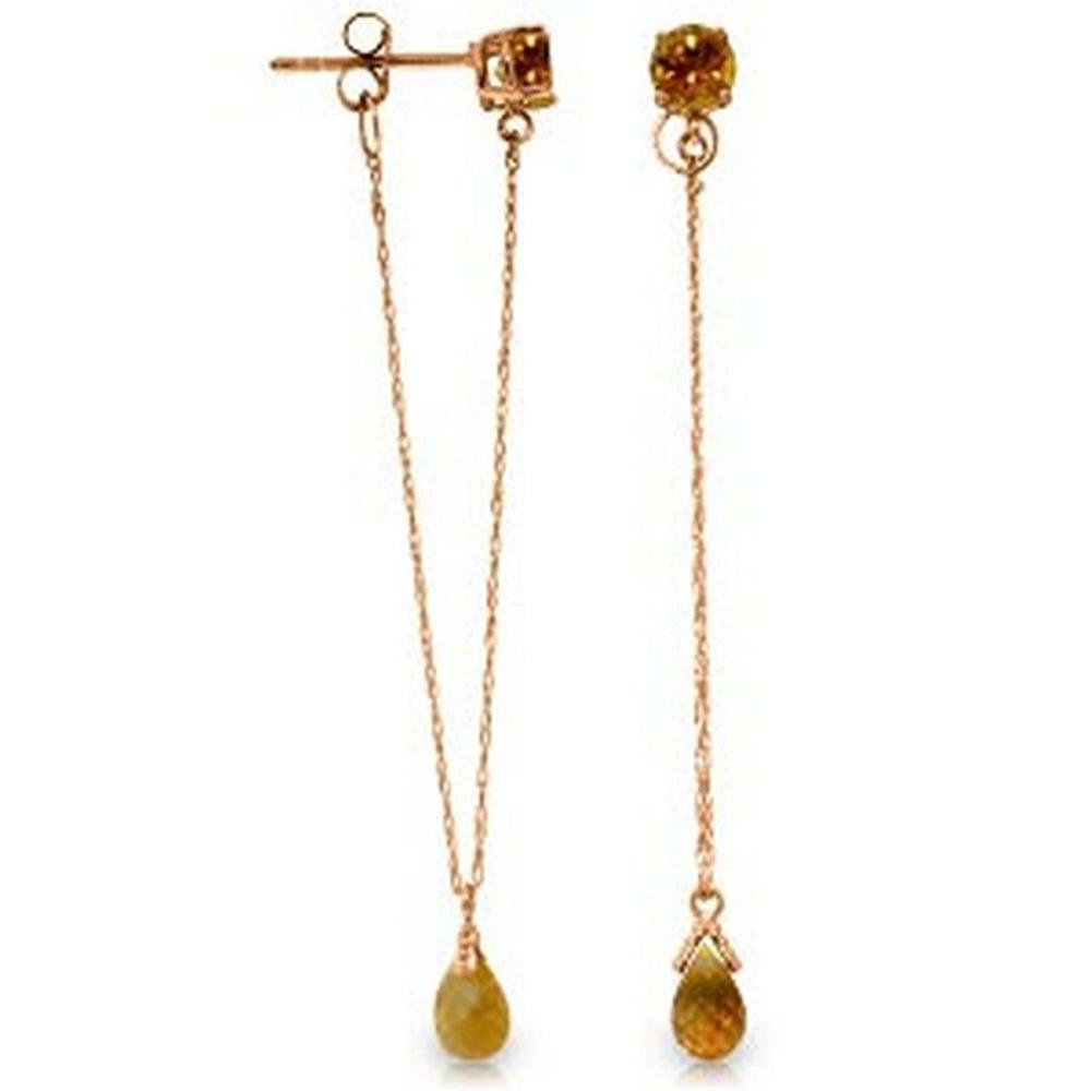 14K Solid Rose Gold Chandelier Earrings with Citrines