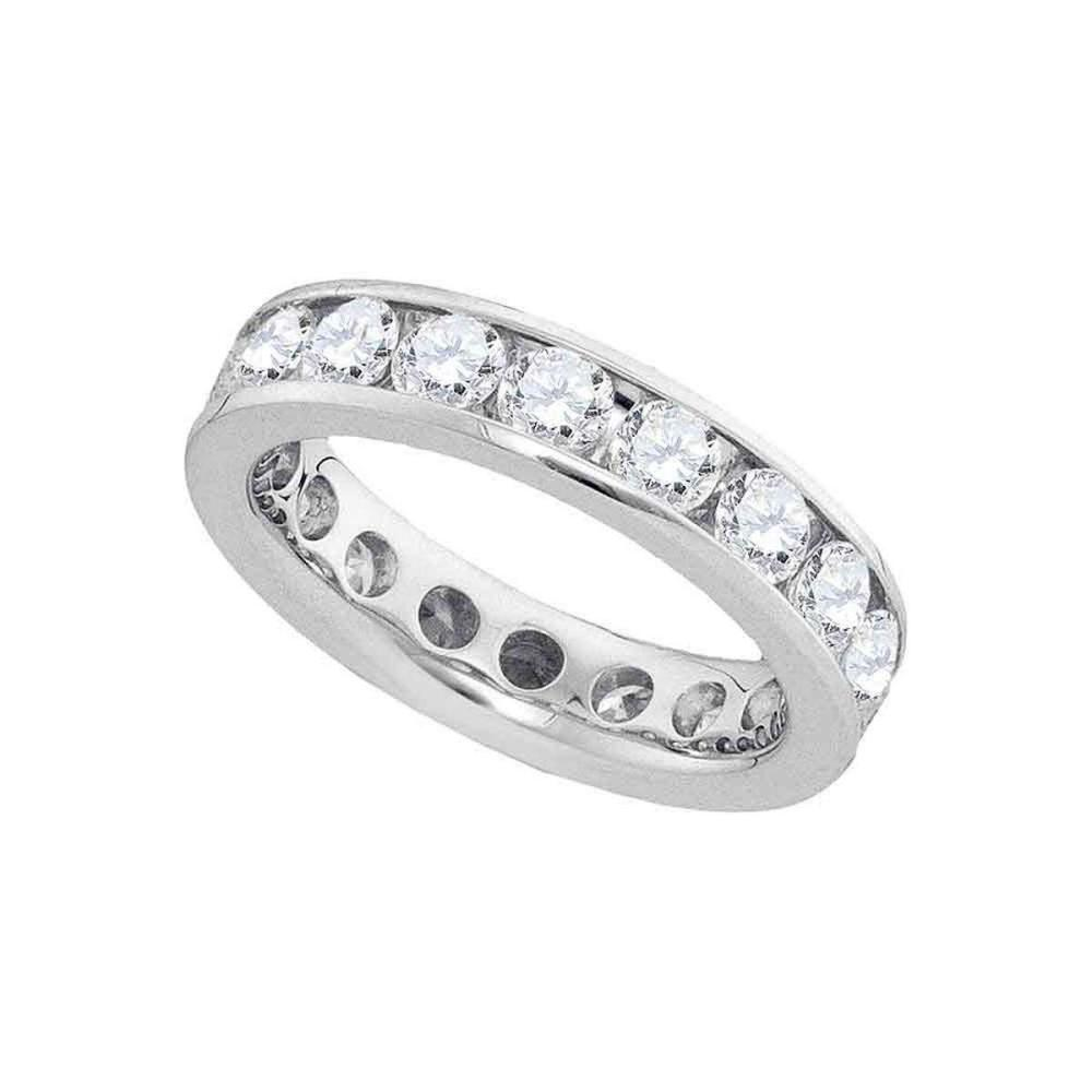 14k White Gold Womens Round Channel-set Diamond Eternity Wedding Band 3.00 Cttw