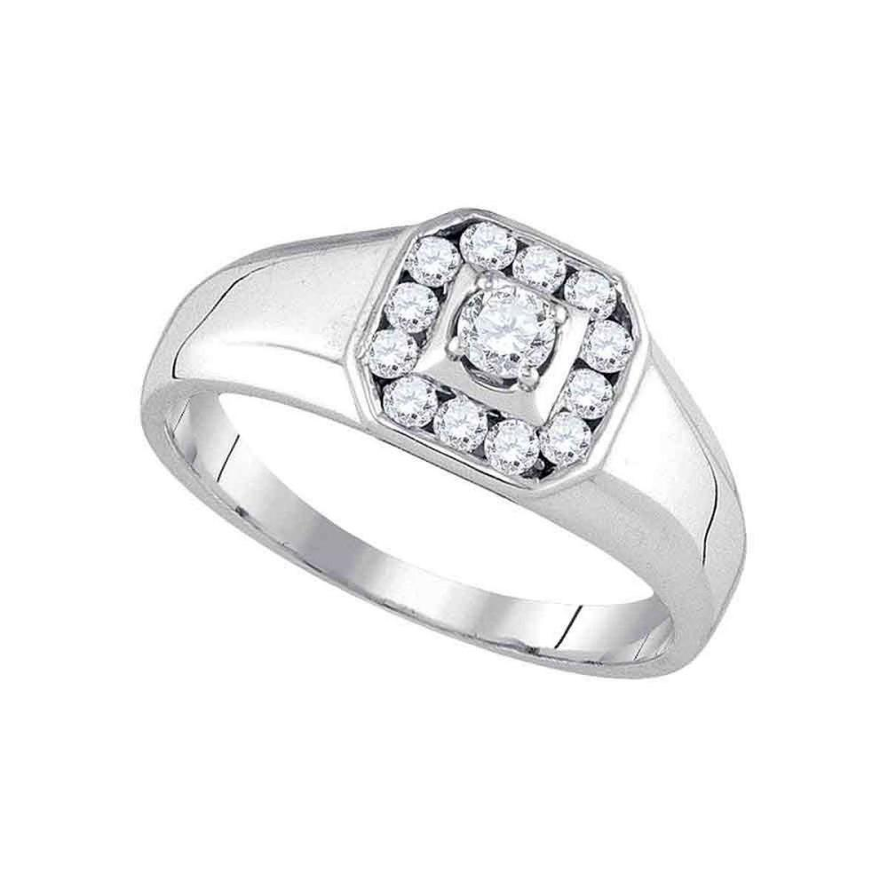 14k White Gold Mens Round Diamond Cluster Fashion Ring 1/2 Cttw