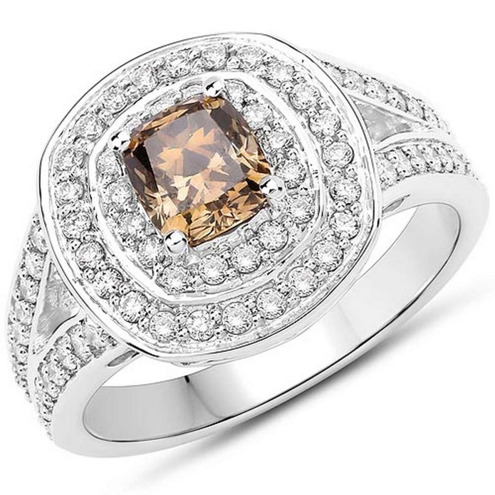 1.63 Carat Genuine Fancy Green Diamond and White Diamond 18K White Gold Ring