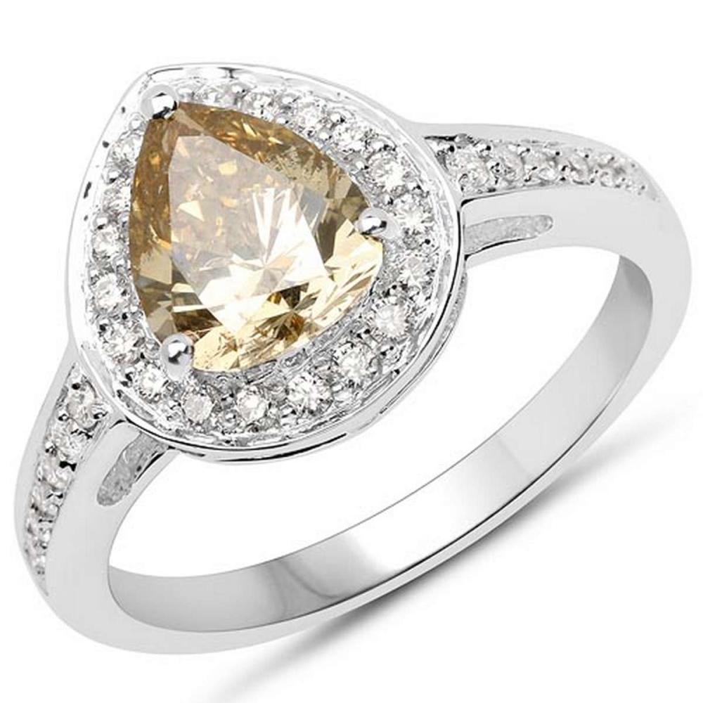 18K White Gold 1.82 Carat Genuine Yellow Diamond and White Diamond Ring