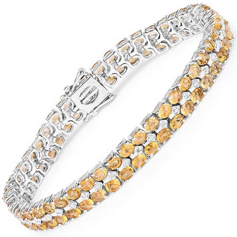 14.52 CTW Genuine Citrine & White Diamond .925 Sterling Silver Bracelet