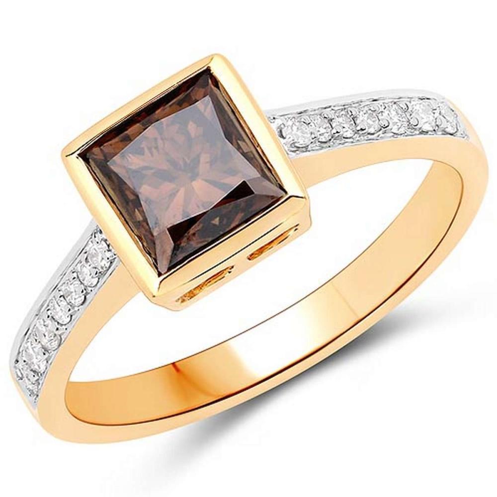 1.64 Carat Genuine Chocolate Brown Diamond and White Diamond 18K Yellow Gold Ring