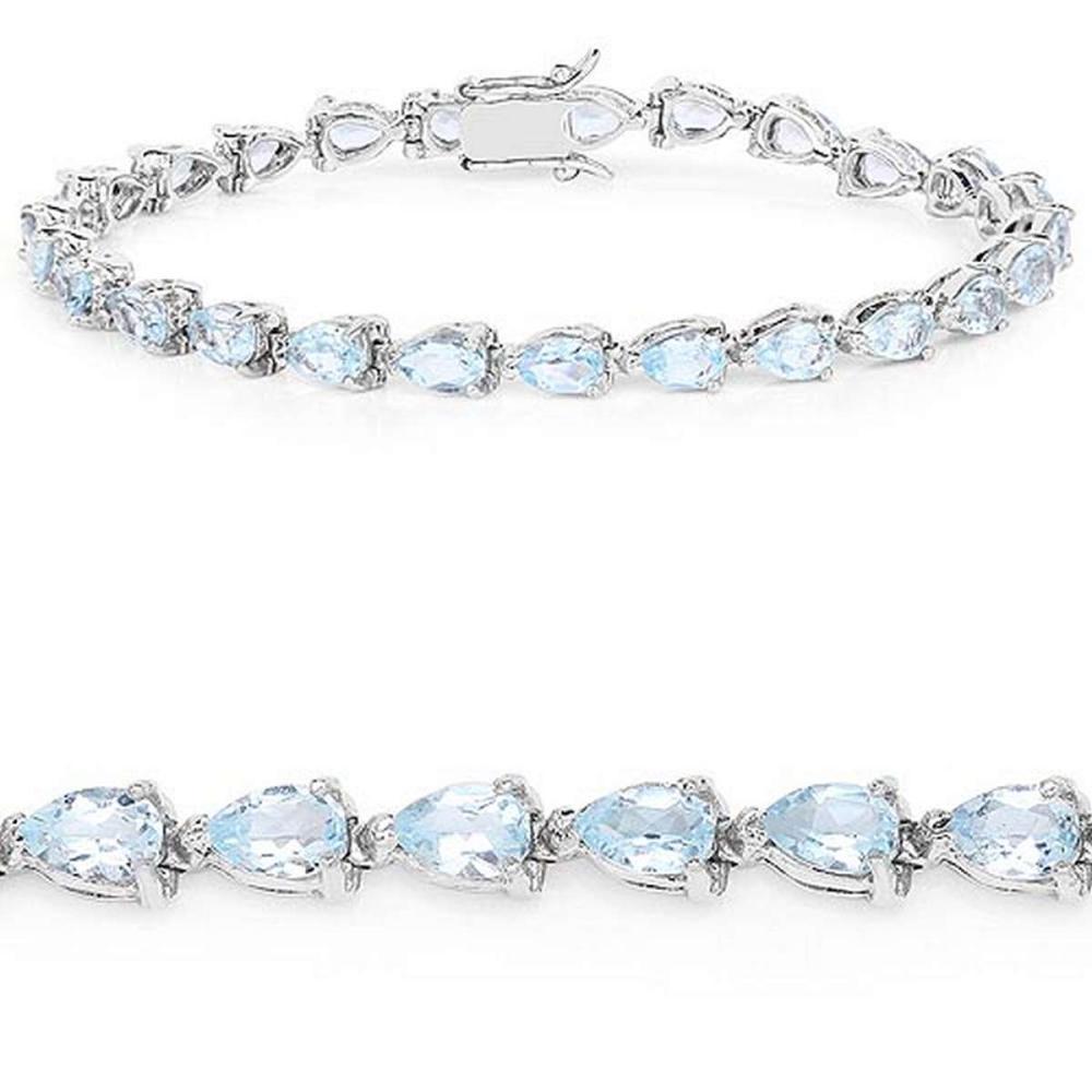 13.20 CTW Genuine Blue Topaz .925 Sterling Silver Bracelet