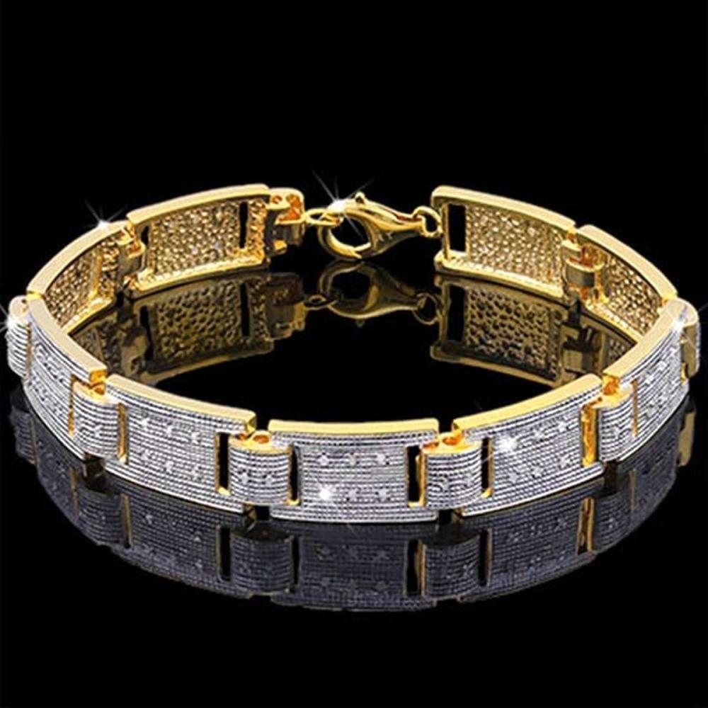 14K Yellow Gold Plated 0.324 Carat Genuine White Diamond .925 Sterling Silver Bracelet
