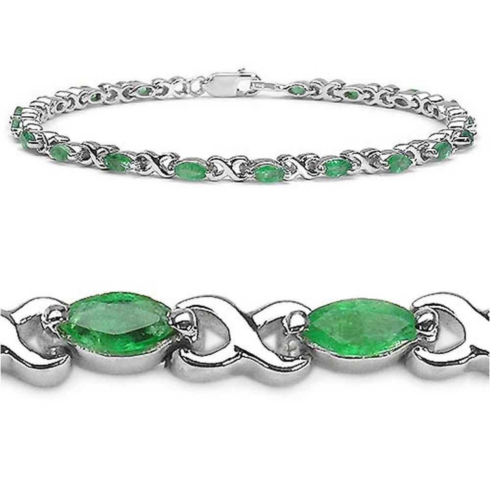 2.60 CTW Genuine Emerald Sterling Silver Bracelet