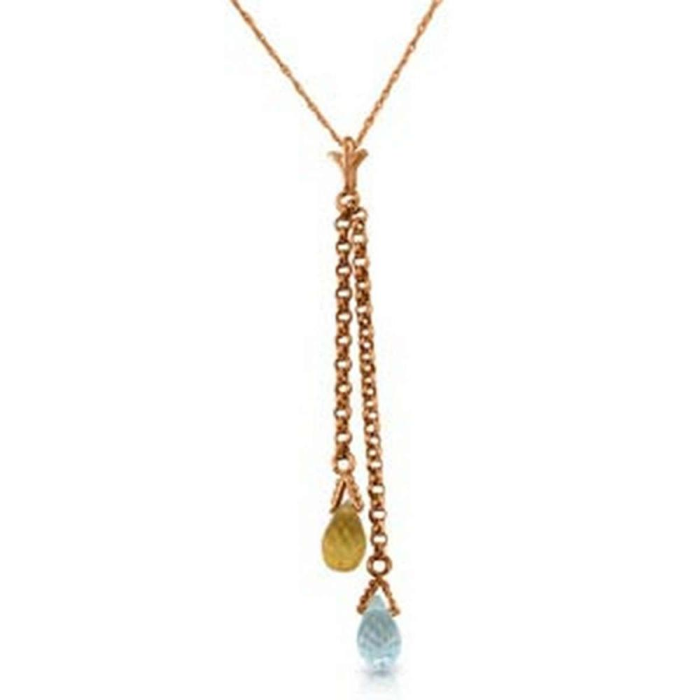 14K Solid Rose Gold Necklace with Blue Topaz and Citrine