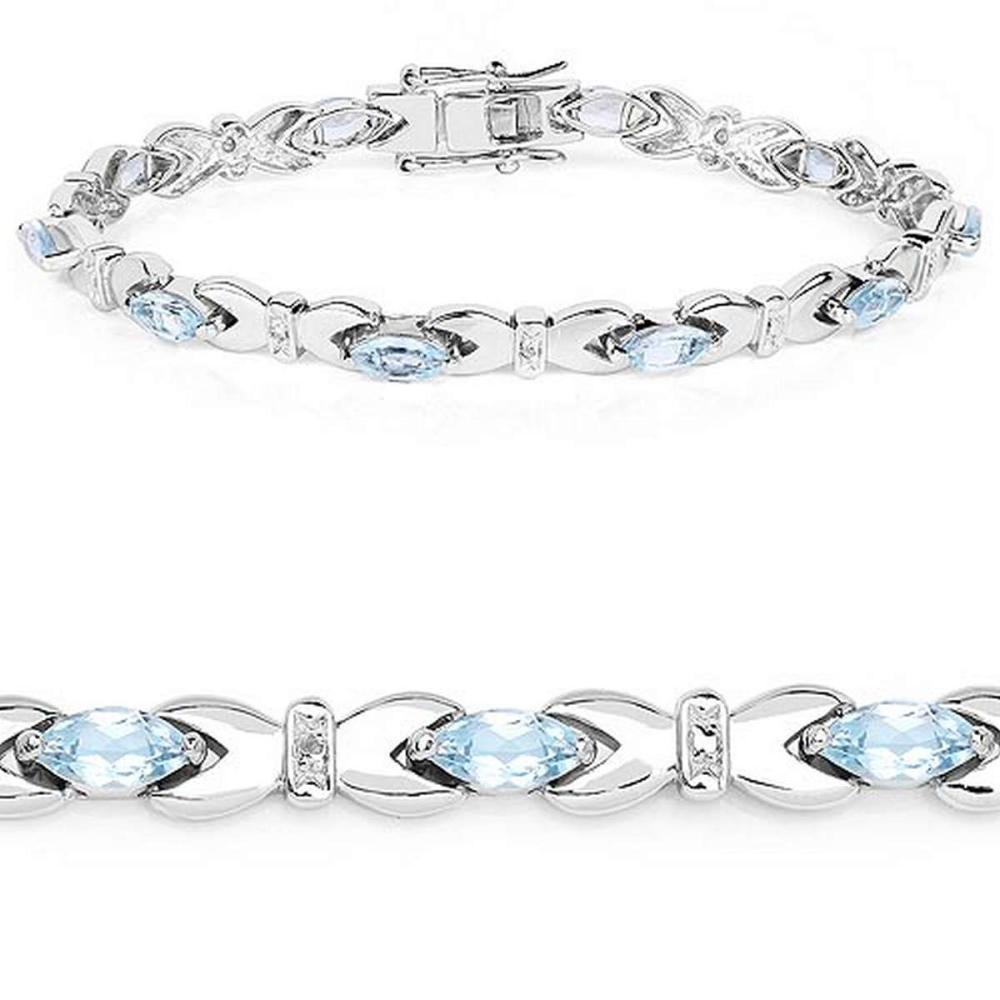 6.20 CTW Genuine Blue Topaz .925 Sterling Silver Bracelet