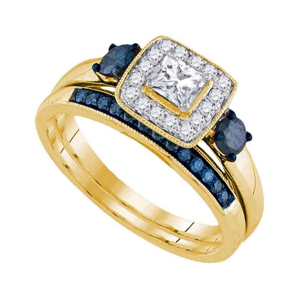 14k Yellow Gold Princess Diamond Bridal Wedding Engagement Ring Band Set 3/4 Ctw