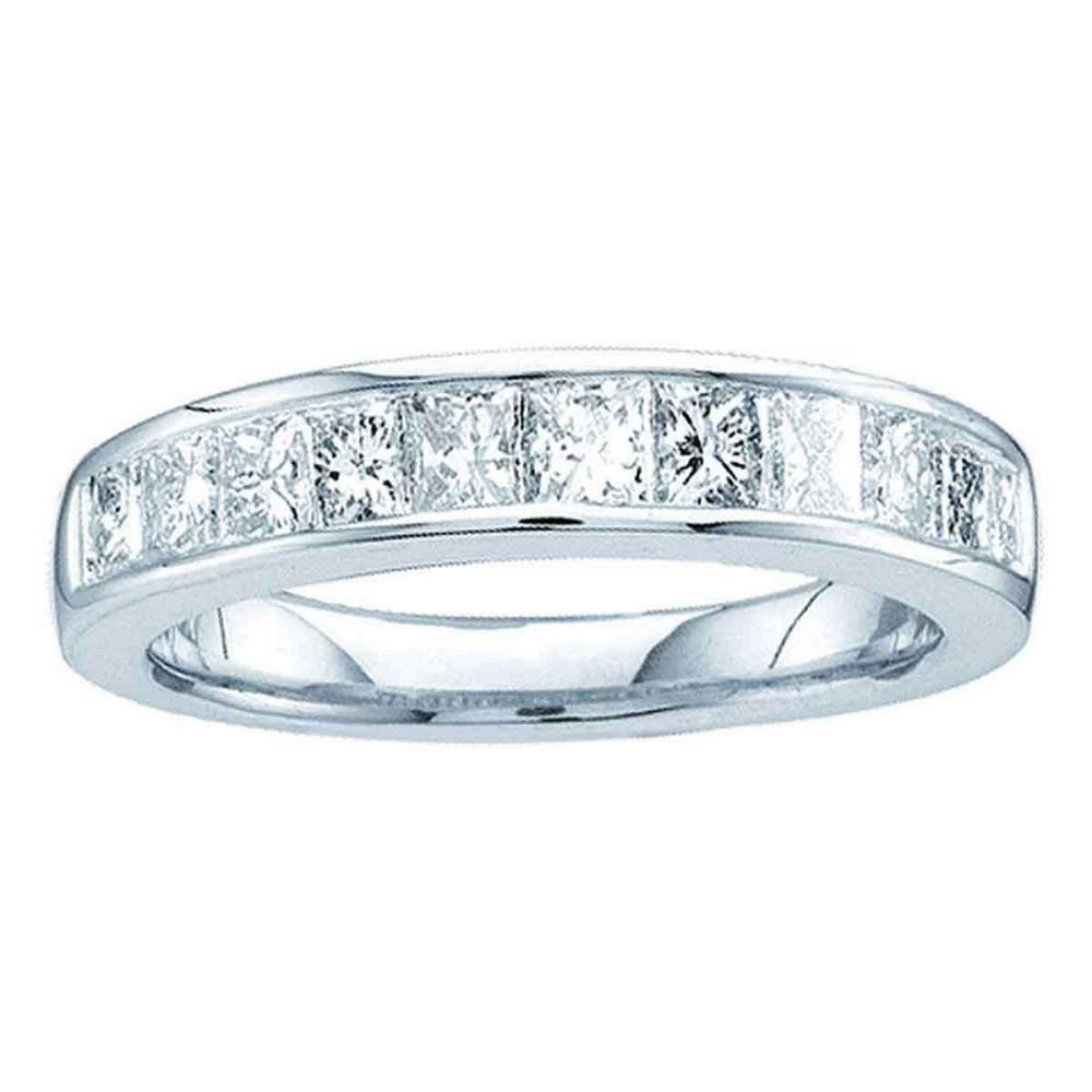 14kt White Gold Princess Channel-set Diamond Single Row Wedding Band Size 6