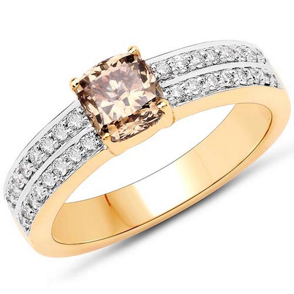 1.32 Carat Genuine TTLB Diamond and White Diamond 18K Yellow Gold Ring