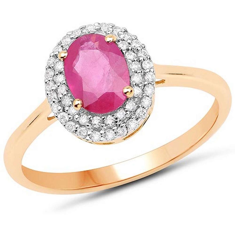 1.13 Carat Genuine Ruby and White Diamond 14K Yellow Gold Ring