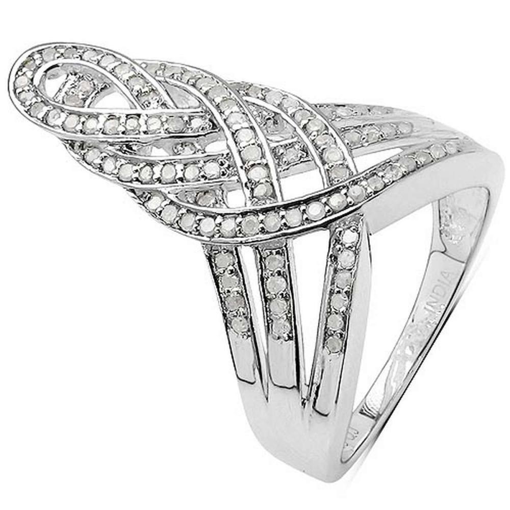 0.51 Carat Genuine White Diamond .925 Sterling Silver Ring