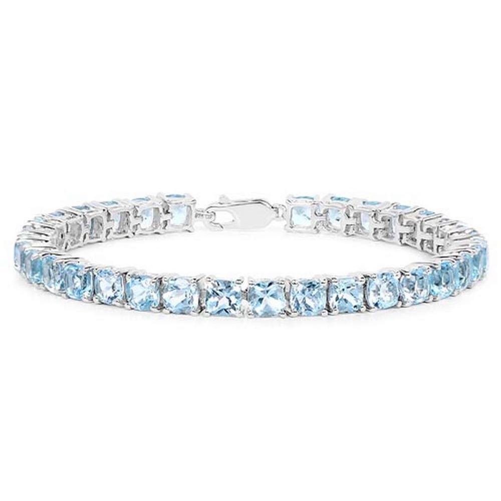 21.45 CTW Genuine Blue Topaz .925 Sterling Silver Bracelet