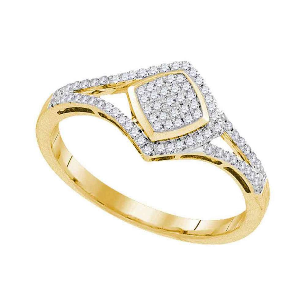 10k Yellow Gold Womens Round Diamond Cluster Ring 1/5 Cttw