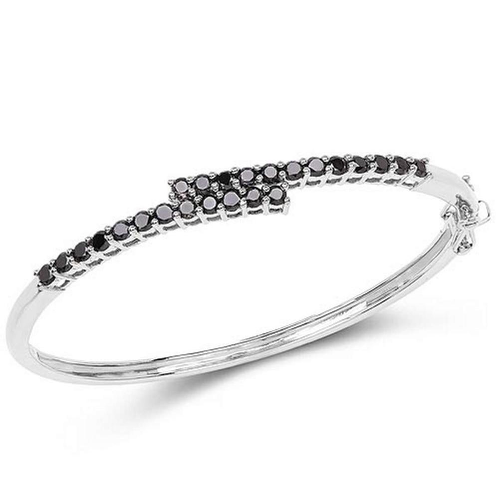 2.52 CTW Genuine Black Diamond .925 Sterling Silver Bangle