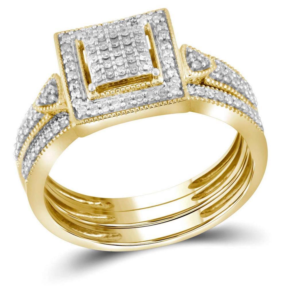 10kt Yellow Gold Womens Diamond Square 3-Piece Bridal Wedding Ring Set 1/3 Cttw