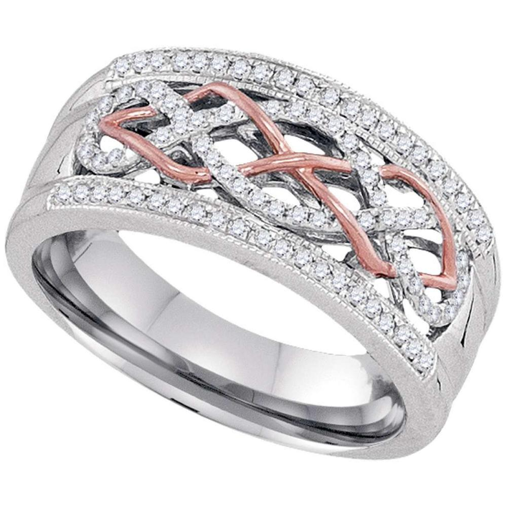 10k Two-tone Gold Womens Round Diamond Filigree Band Fashion Ring 1/4 Cttw