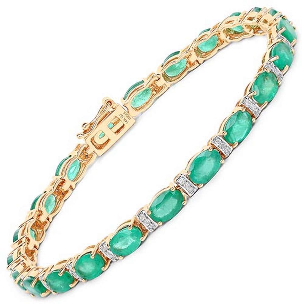 9.94 CTW Genuine Zambian Emerald and White Diamond 14K Yellow Gold Bracelet