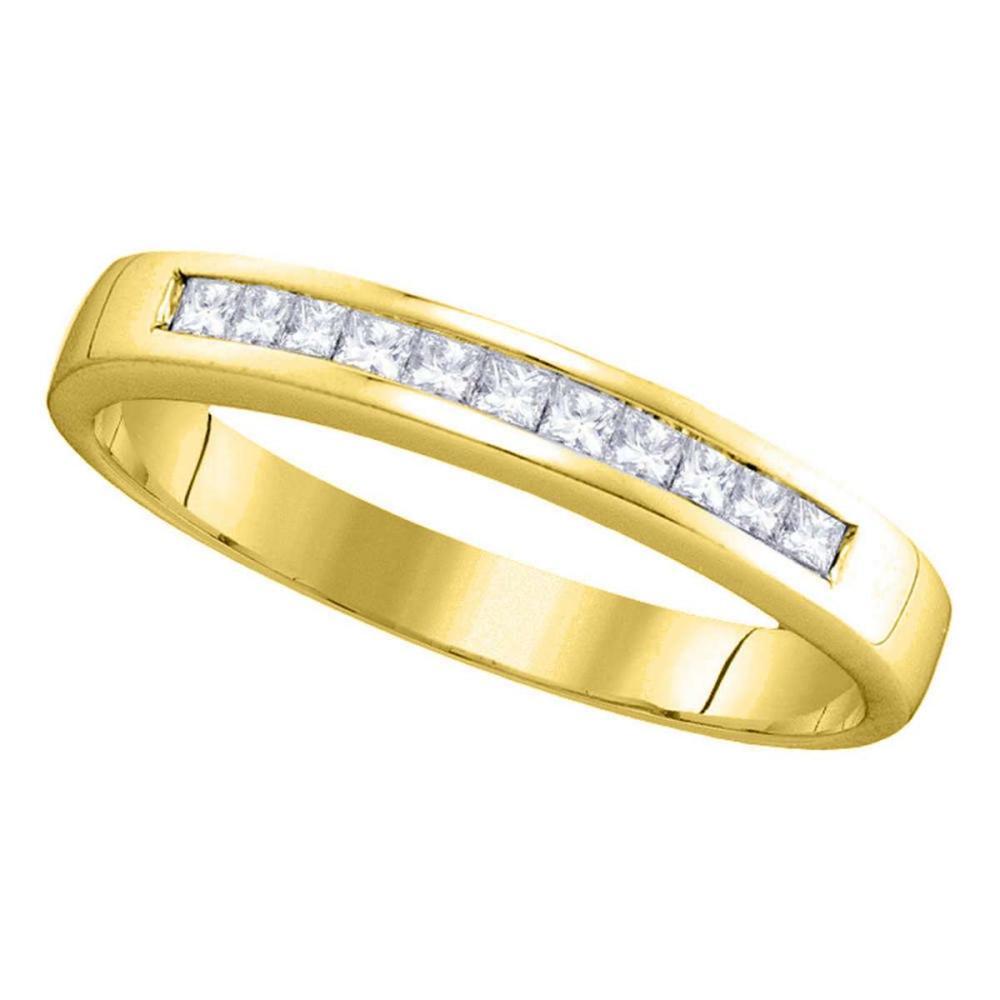 14kt Yellow Gold Princess Channel-set Diamond Single Row Wedding Band Size 9