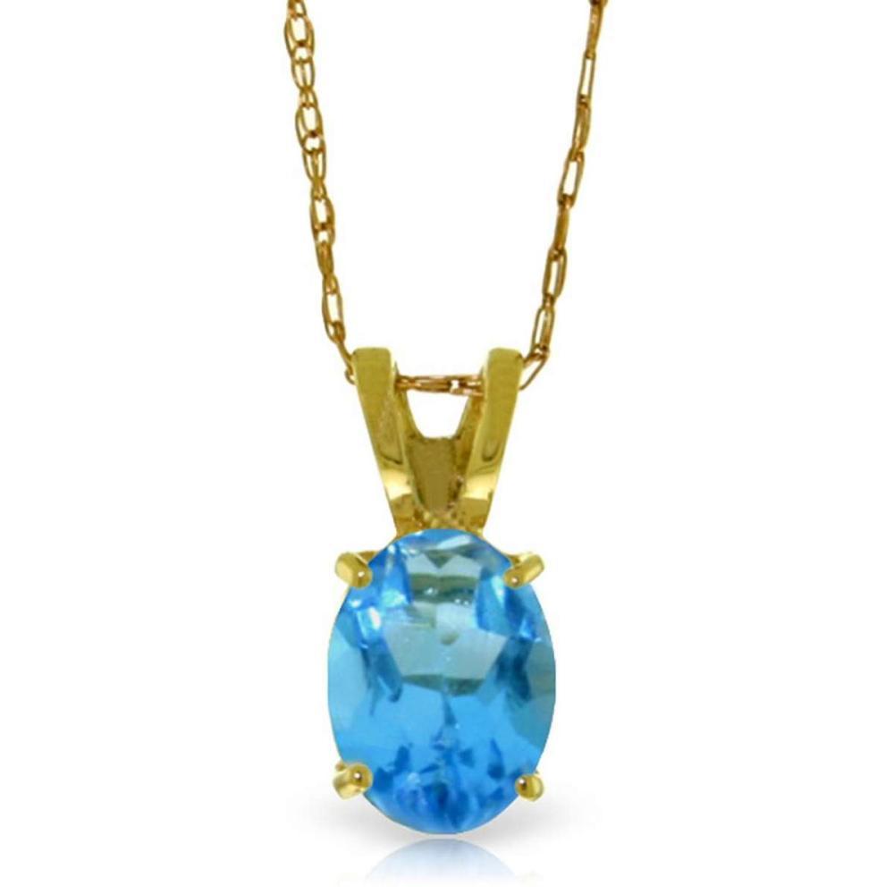 0.85 Carat 14K Solid Gold Sheltering Sky Blue Topaz Necklace