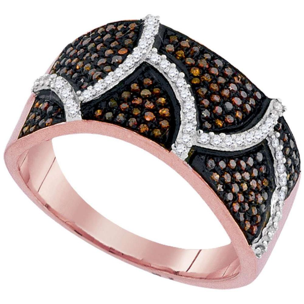 10k Rose Gold Womens Round Red Color Enhanced Diamond Abstract Stripe Band Ring