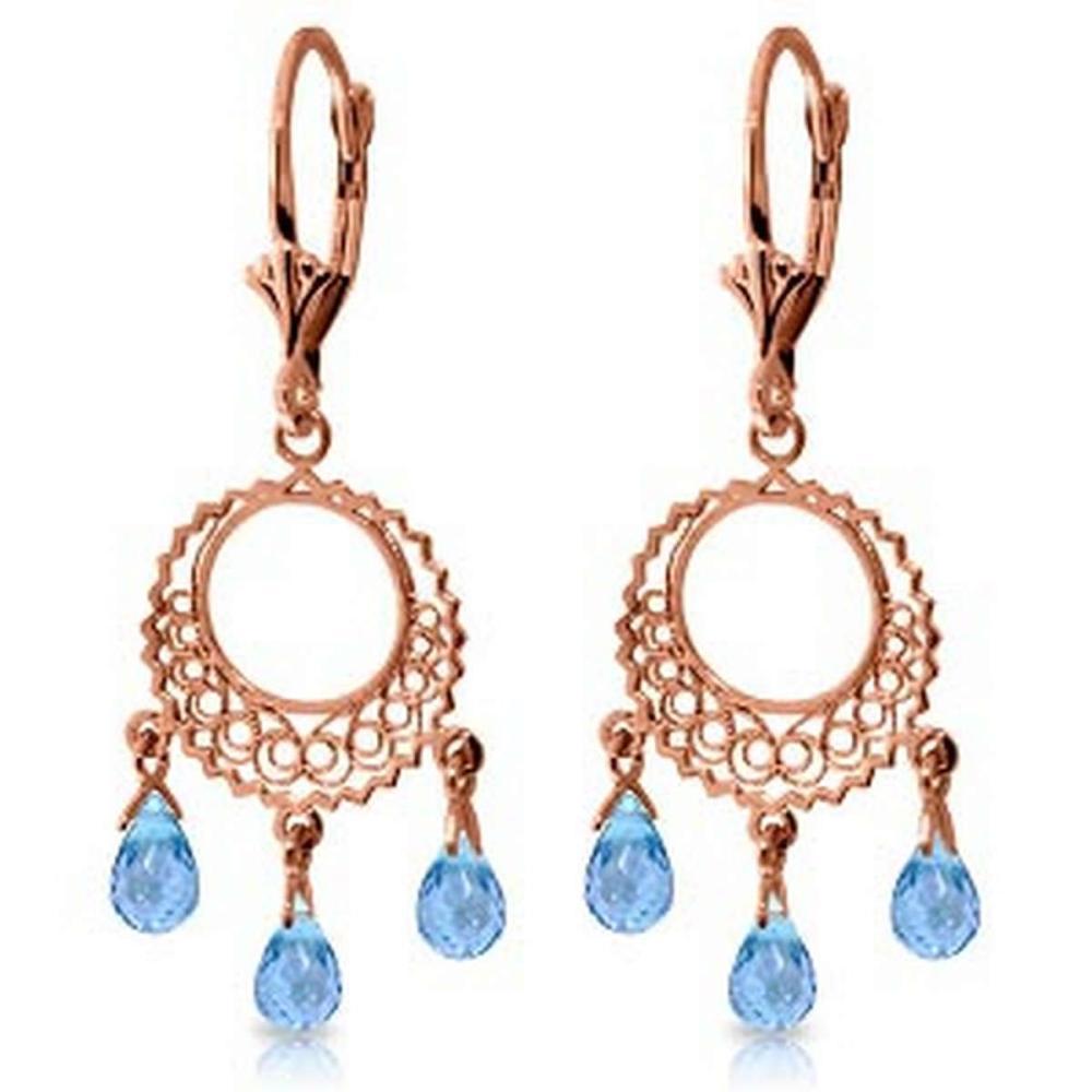 3.75 Carat 14K Solid Rose Gold Chandelier Earrings Blue Topaz