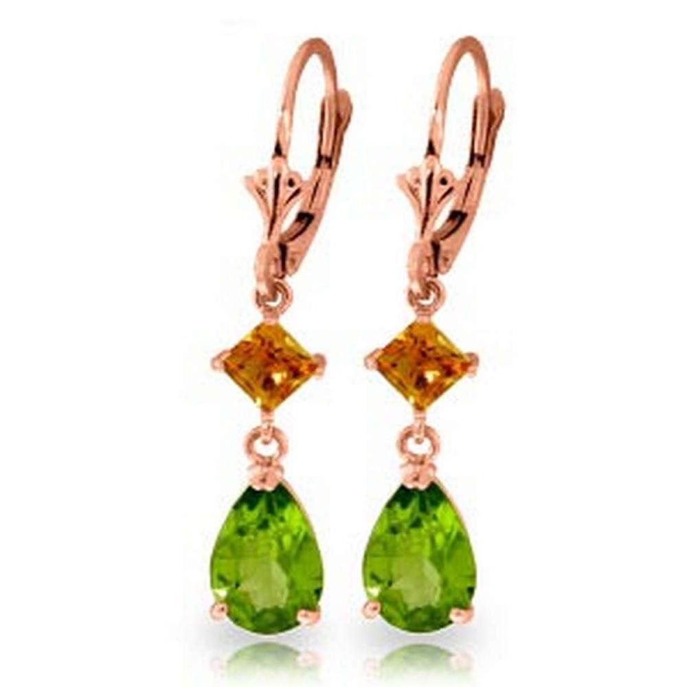 4.5 CTW 14K Solid Rose Gold Leverback Earrings Peridot Citrine