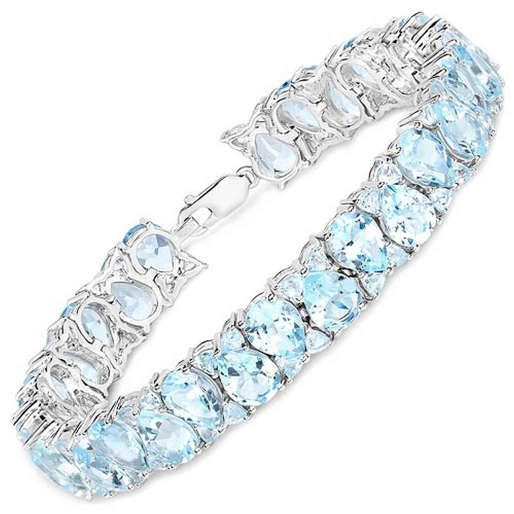 58.76 CTW Genuine Blue Topaz .925 Sterling Silver Bracelet