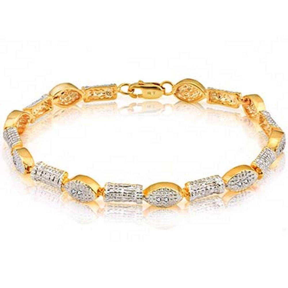 14K Yellow Gold Plated 0.081 Carat Genuine White Diamond .925 Sterling Silver Bracelet