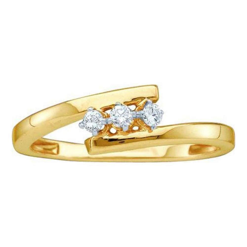 10k Yellow Gold Round Diamond 3-stone Bridal Wedding Engagement Ring 1/10 Ctw