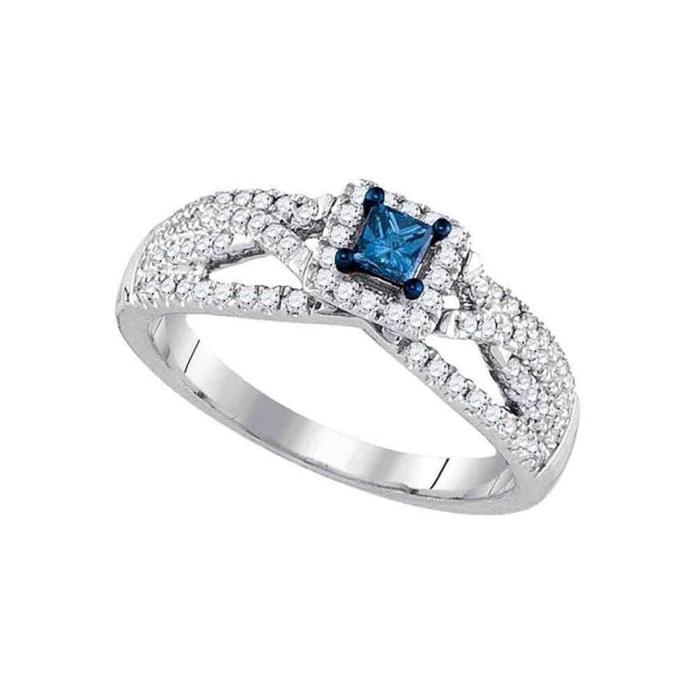 14k White Gold Princess Blue Diamond Solitaire Bridal Wedding Engagement Ring