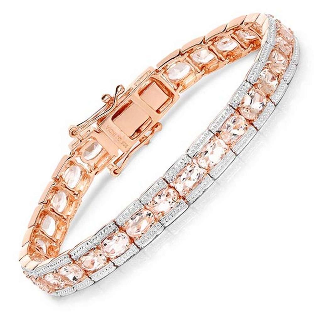 18K Rose Gold Plated 11.60 CTW Genuine Morganite .925 Sterling Silver Bracelet