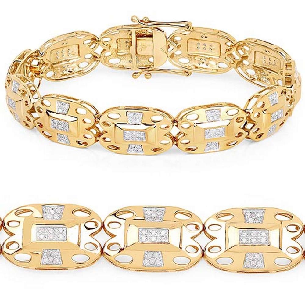 14K Yellow Gold Plated 0.96 CTW Genuine White Diamond .925 Sterling Silver Bracelet