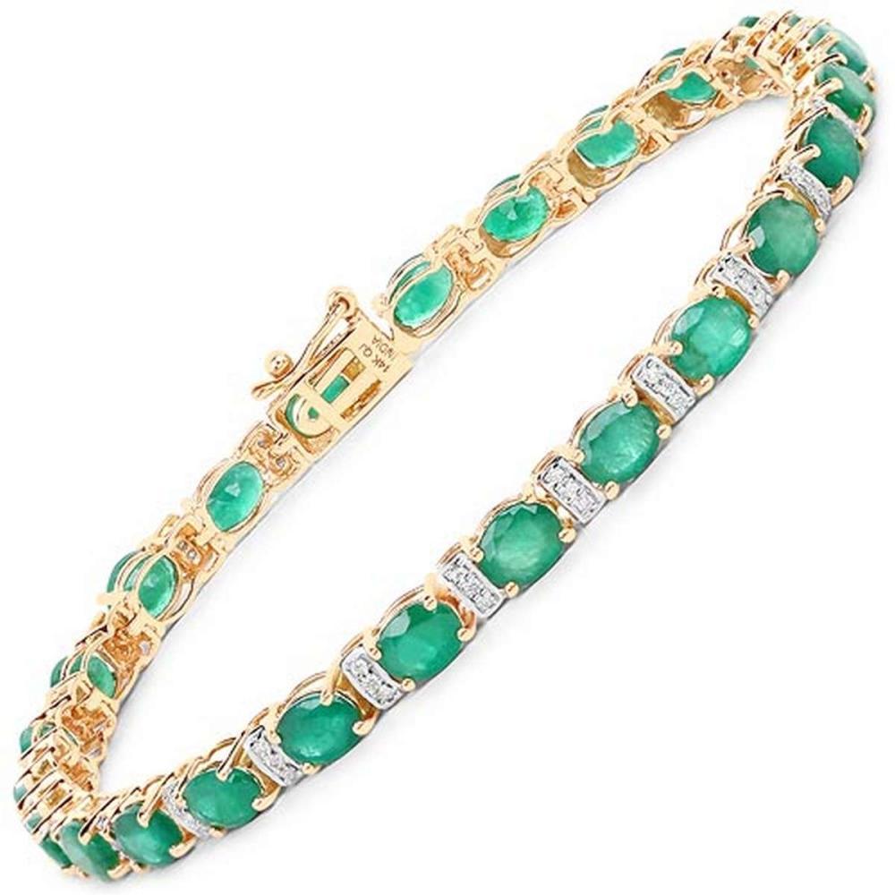 8.55 CTW Genuine Zambian Emerald and White Diamond 14K Yellow Gold Bracelet
