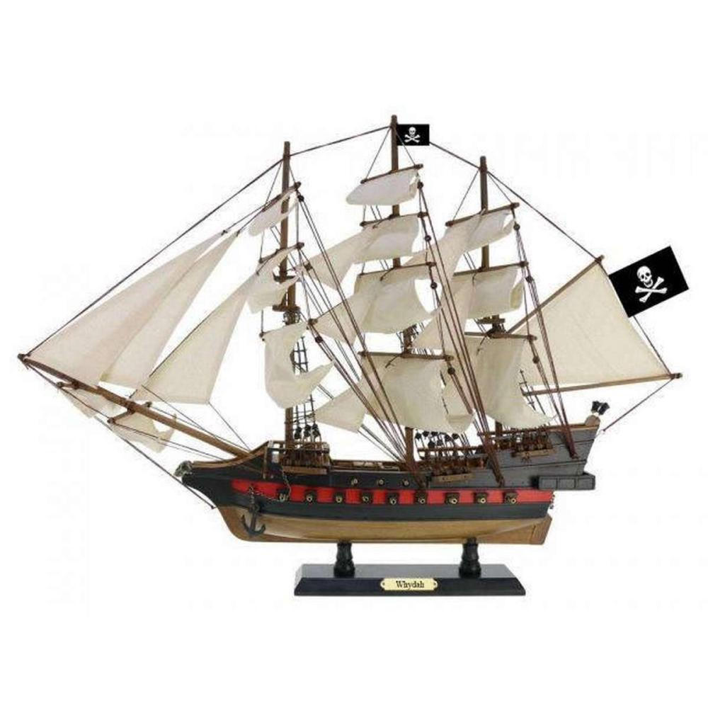 Wooden Whydah Gally White Sails Limited Model Pirate Ship 26in.