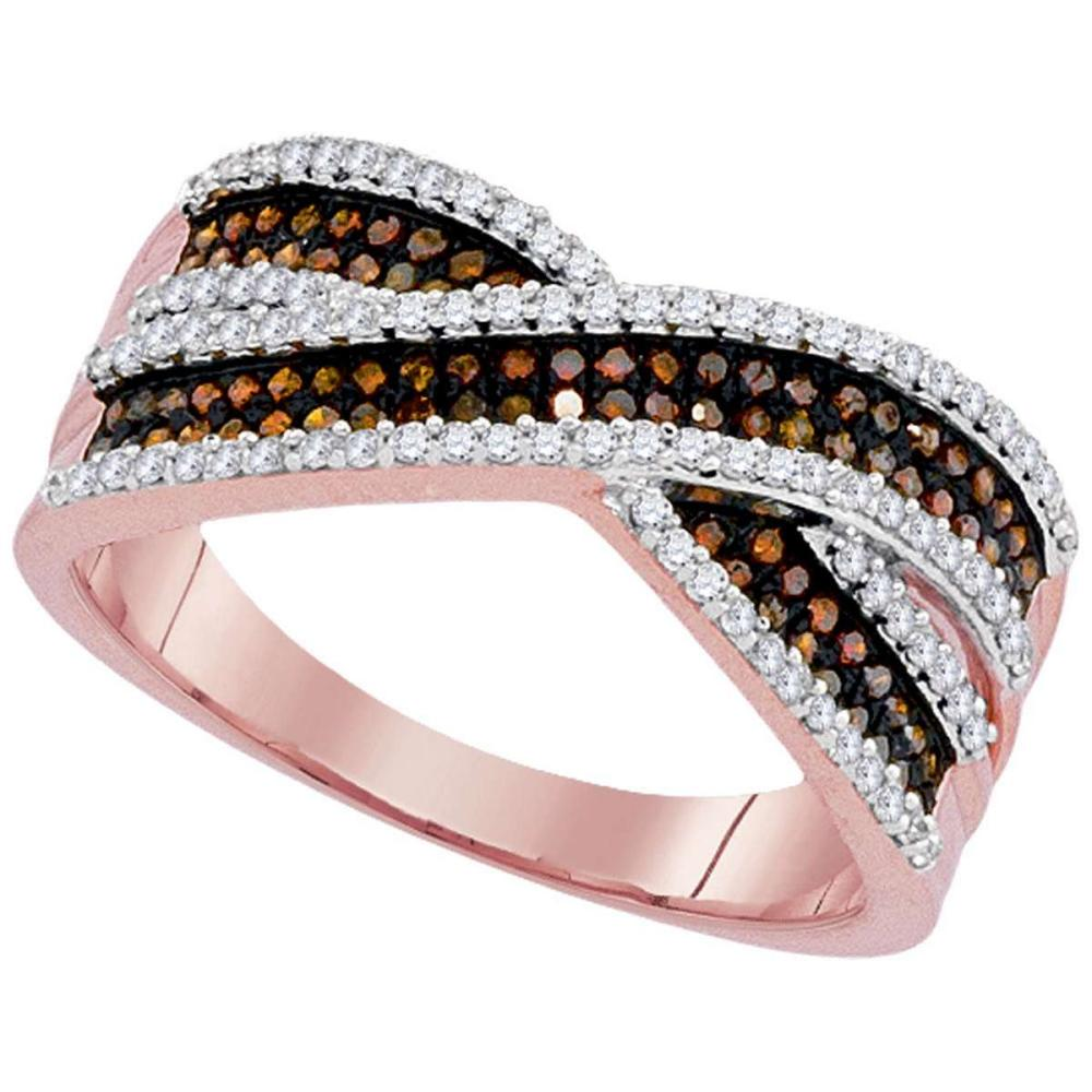 10kt Rose Gold Womens Round Red Color Enhanced Diamond Crossover Band Ring