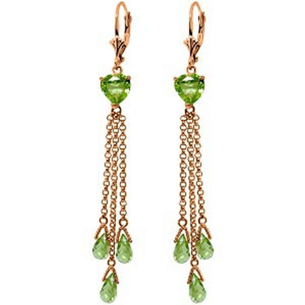 14K Solid Rose Gold Chandelier Earrings with Briolette Peridots