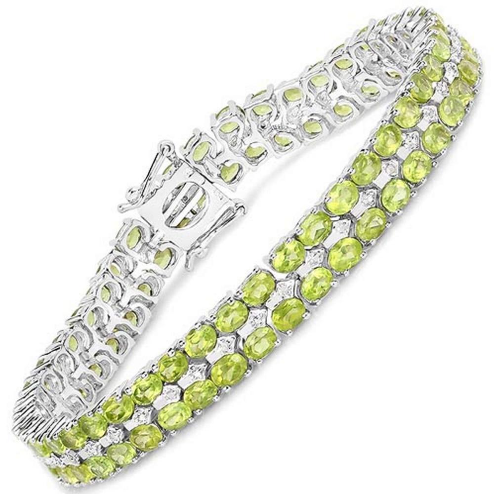 15.42 CTW Genuine Peridot and White Diamond .925 Sterling Silver Bracelet