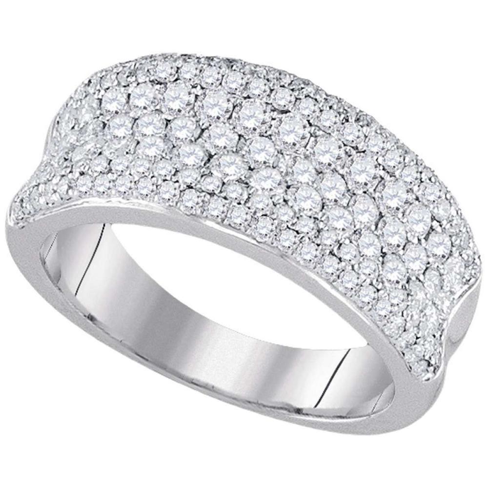 14k White Gold Round Diamond Pave Wedding Anniversary Fashion Band Ring 1-1/3