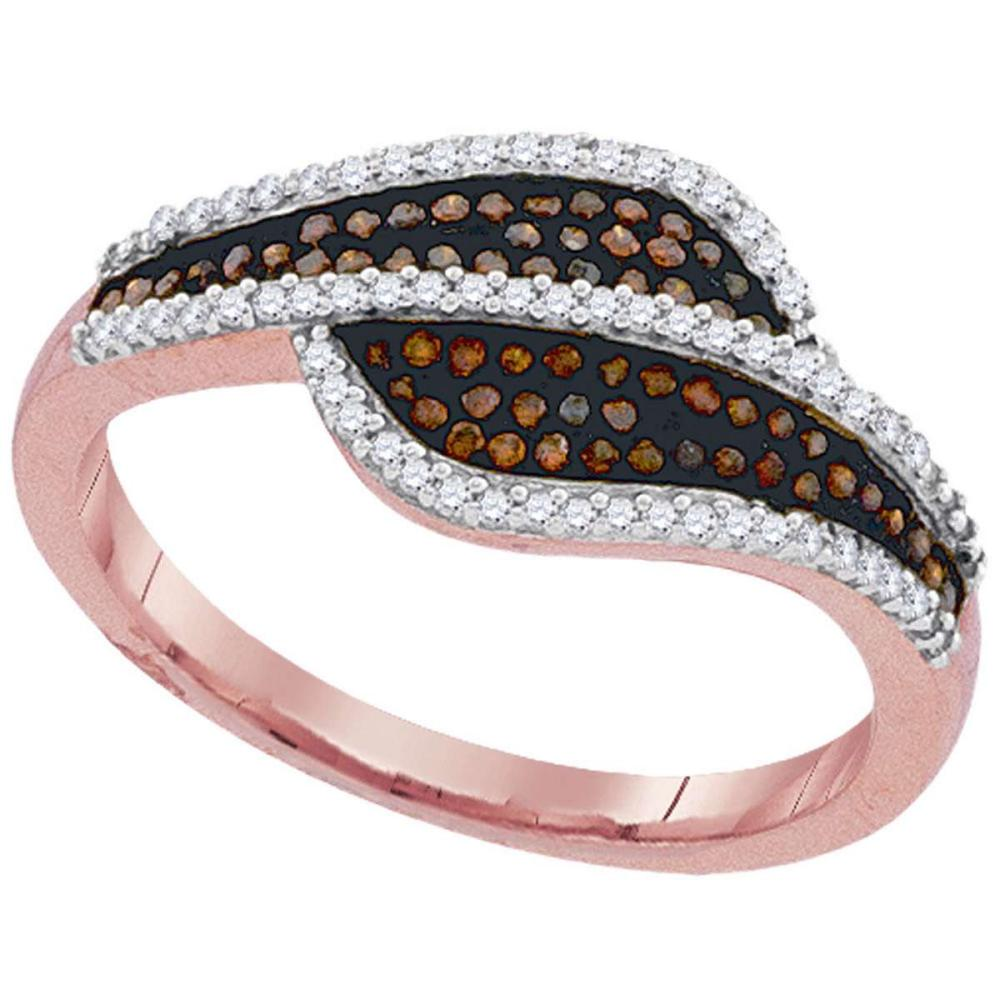 10k Rose Gold Womens Round Red Color Enhanced Diamond Band Bypass Ring 1/3