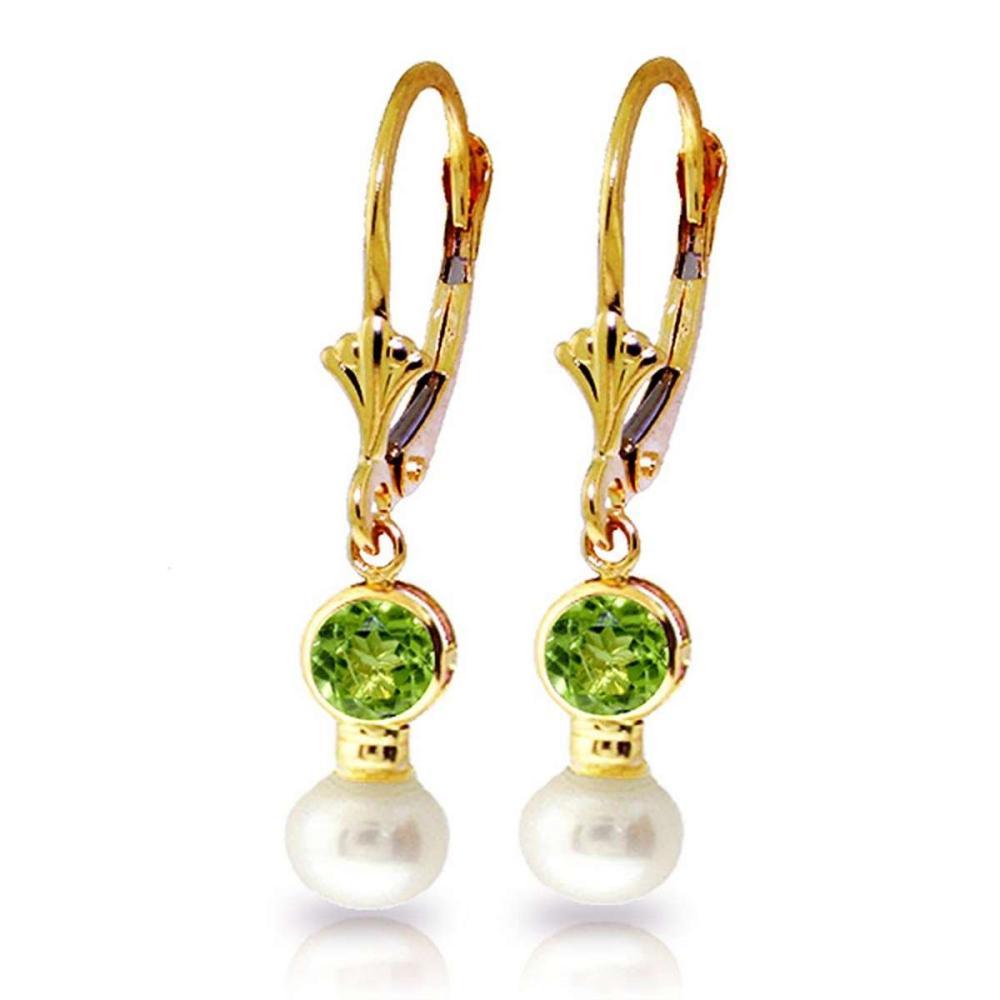 5.2 CTW 14K Solid Gold Leverback Earrings pearl Peridot