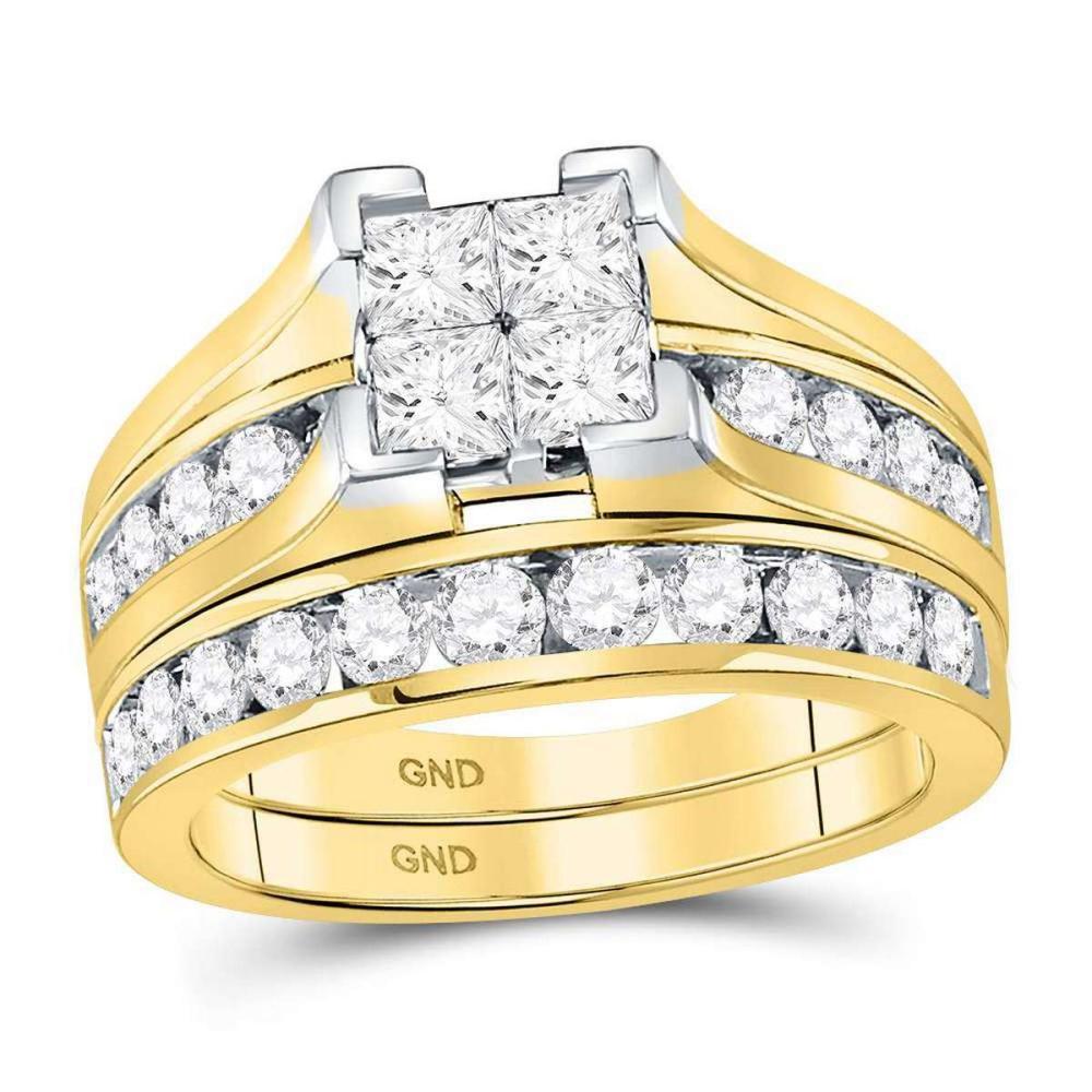 14kt Yellow Gold Princess Diamond Bridal Wedding Engagement Ring Set 2.00 Ctw