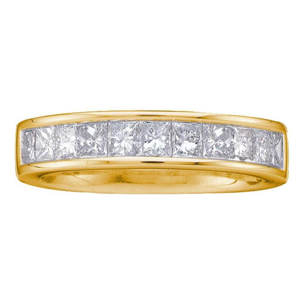 14kt Yellow Gold Princess Channel-set Diamond Single Row Wedding Band Size 6