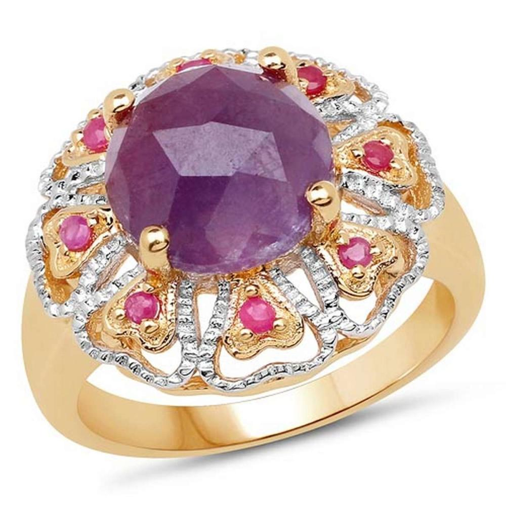 14K Yellow Gold Plated 5.55 Carat Genuine Pink Sapphire & Ruby .925 Sterling Silver Ring